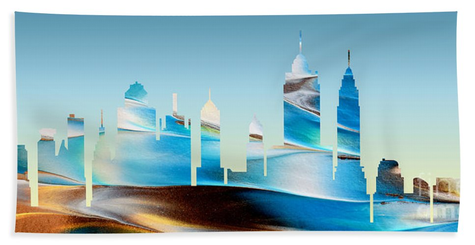 Abstract Bath Sheet featuring the painting Decorative Skyline Abstract New York P1015b by Mas Art Studio