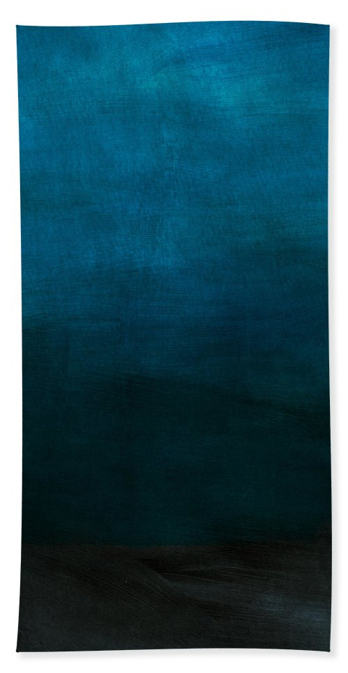 Blue Bath Towel featuring the mixed media Deep Blue Mood- Abstract Art by Linda Woods by Linda Woods