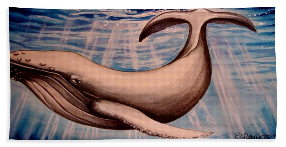 Whale Hand Towel featuring the painting Deep Blue Sea by Elizabeth Robinette Tyndall