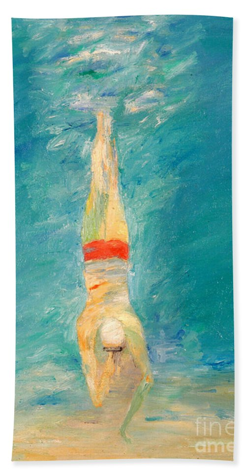 Water Hand Towel featuring the painting Deep Dive by Lisa Baack