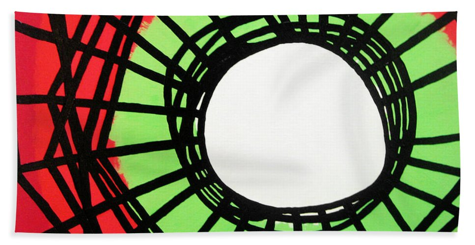 Abstract Hand Towel featuring the painting Deep In The Disturbance There May Be Light by Oliver Johnston