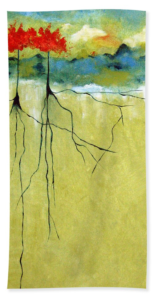 Abstract Hand Towel featuring the painting Deep Roots by Ruth Palmer