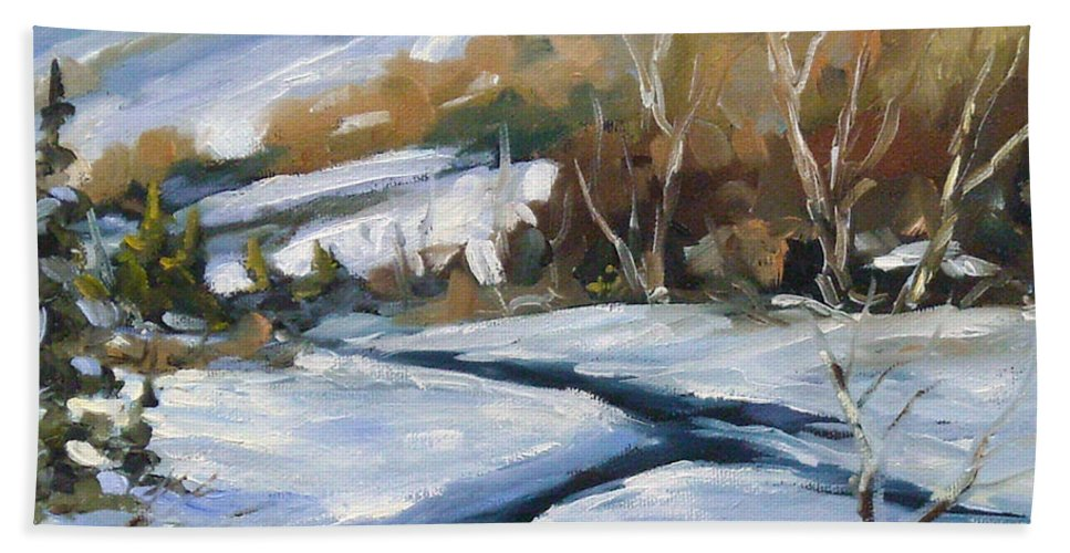 Art Bath Towel featuring the painting Deep Snow by Richard T Pranke