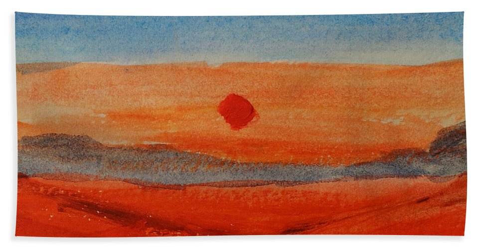 Landscape Hand Towel featuring the painting Deep Sunset by Helen Krummenacker
