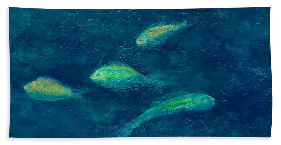 Ocean Hand Towel featuring the painting Deep Swim by Ishwar Malleret