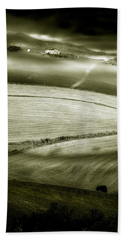 Landscape Bath Sheet featuring the photograph Deepening Shadows by Mal Bray