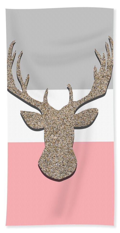 Deer Hand Towel featuring the digital art Deer Head Silhouette by Pati Photography