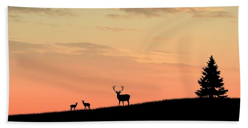 Animals Hand Towel featuring the digital art Deer In Silhouette by John Wills