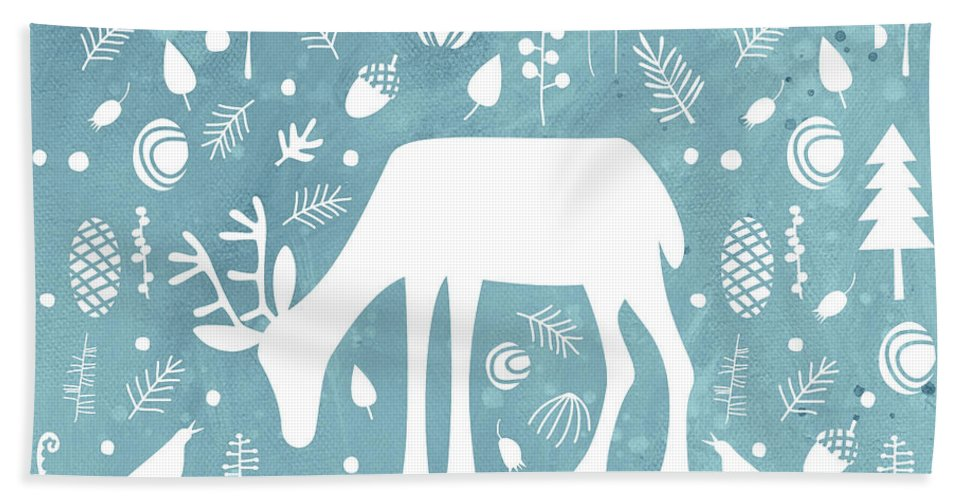 Deer Bath Sheet featuring the painting Deer In The Woods by Nic Squirrell