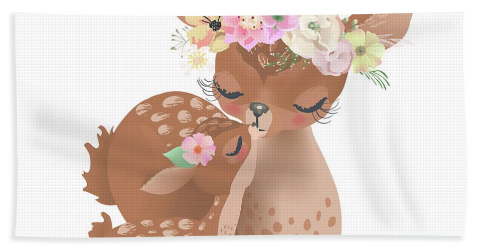 Deer Woodland Boho Baby Nursery Floral Throw Pillow Bath Towel for ...