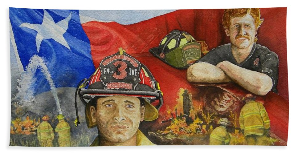 Firemen Hand Towel featuring the painting Defending Texas by Gale Cochran-Smith