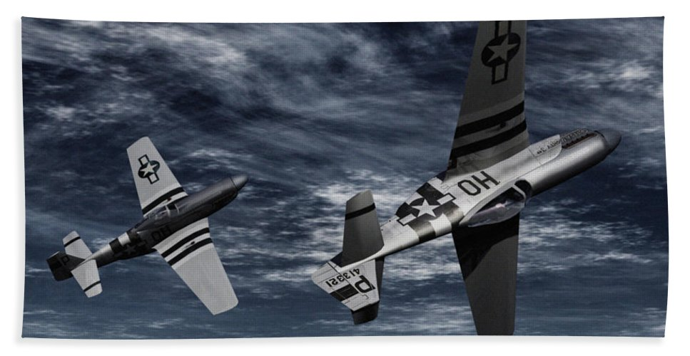 Aircombat Bath Towel featuring the digital art Defensive Split by Richard Rizzo