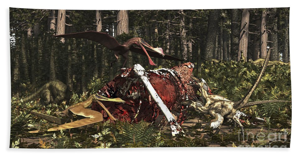 Horizontal Bath Sheet featuring the digital art Deinonychus & Coloborhynchus Birds Feed by Arthur Dorety