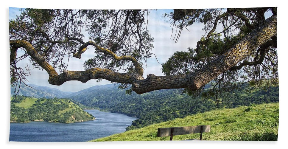 California Hand Towel featuring the photograph Del Valle Reservoir by Donna Blackhall