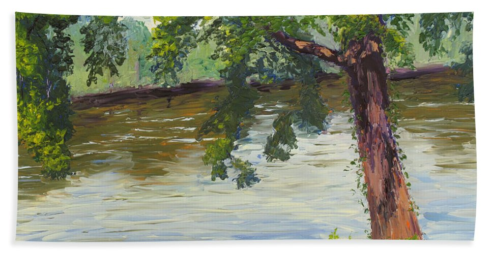 Landscape Hand Towel featuring the painting Delaware River At Washington's Crossing by Lea Novak
