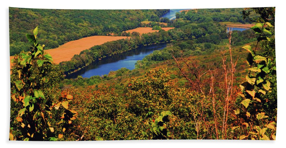 Delaware River From The Appalachian Trail Hand Towel featuring the photograph Delaware River From The Appalachian Trail by Raymond Salani III