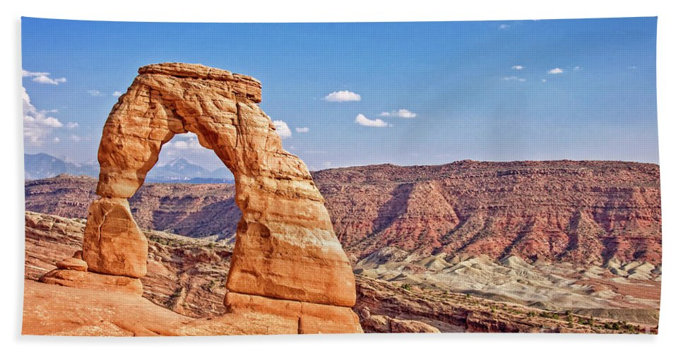 Delicate Arch Bath Sheet featuring the photograph Delicate Arch by Delphimages Photo Creations