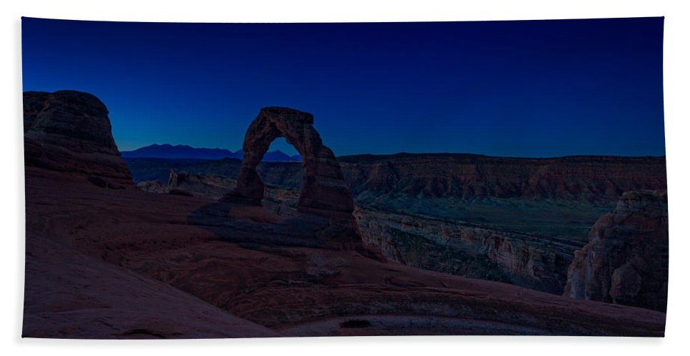 Delicate Arch Hand Towel featuring the photograph Delicate Arch In The Blue Hour by Rick Berk