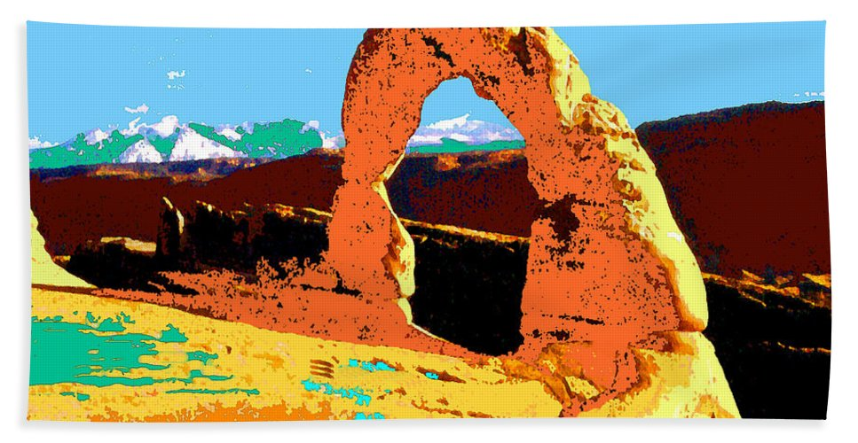 Delicate+arch Bath Sheet featuring the painting Delicate Arch Utah - Pop Art by Peter Potter