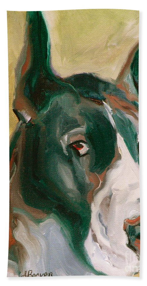 Greeting Cards Hand Towel featuring the painting Delicious Dane by Susan A Becker
