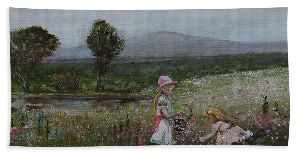 Impressionist Bath Towel featuring the painting Delights Of Spring - Lmj by Ruth Kamenev