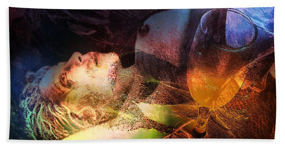 Fantasy Bath Sheet featuring the painting Delirium Tremens by Miki De Goodaboom