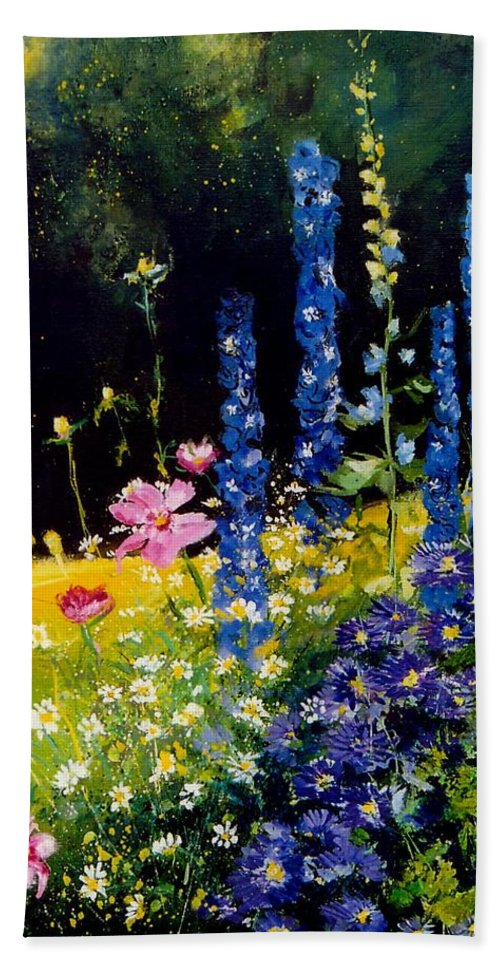 Poppies Hand Towel featuring the painting Delphiniums by Pol Ledent