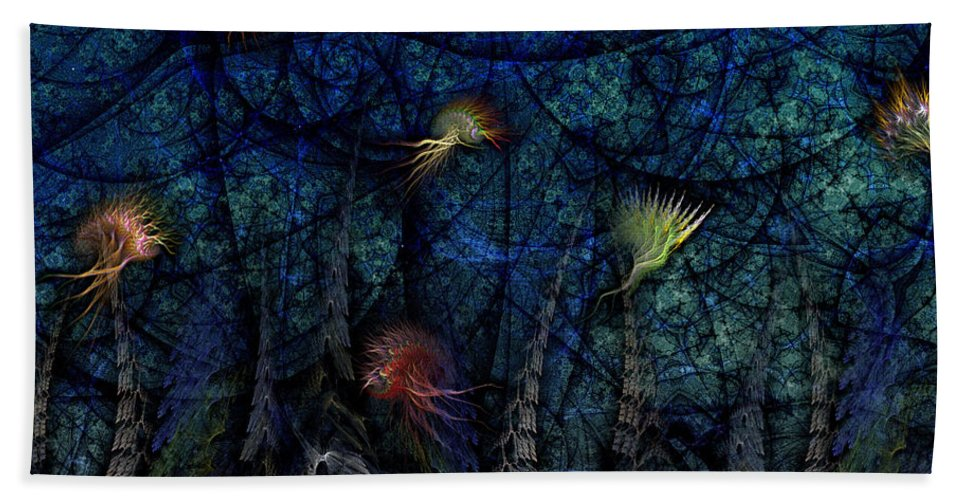 Abstract Hand Towel featuring the digital art Denizens by Casey Kotas