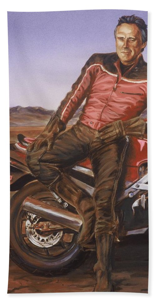 Dennis Hopper Hand Towel featuring the painting Dennis Hopper by Bryan Bustard