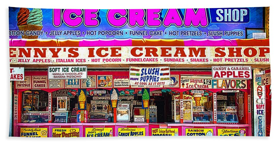 Ice Cream Hand Towel featuring the photograph Dennys Ice Cream Shop by Chris Lord