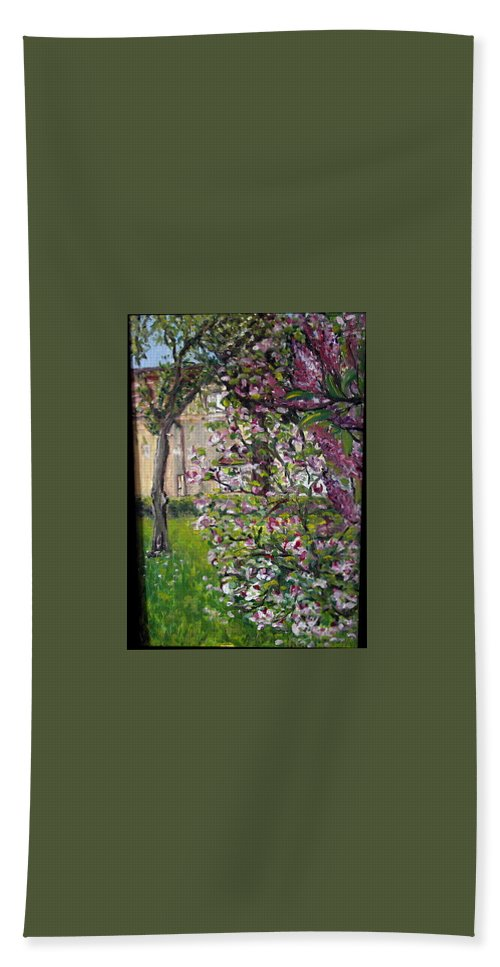 Landscape Bath Towel featuring the painting Dentist Flowers by Pablo de Choros