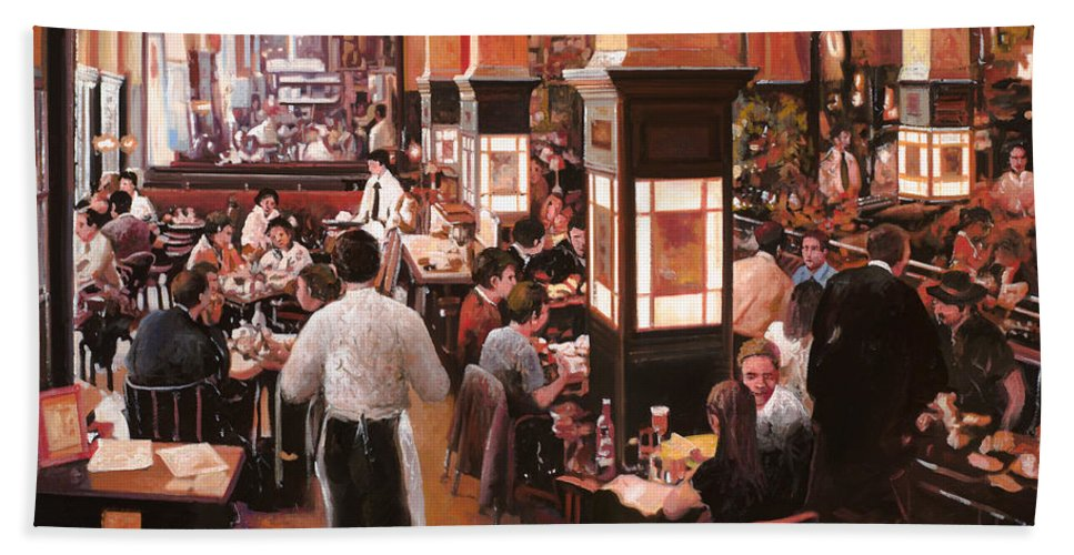 Coffee Shop Hand Towel featuring the painting Dentro Il Caffe by Guido Borelli
