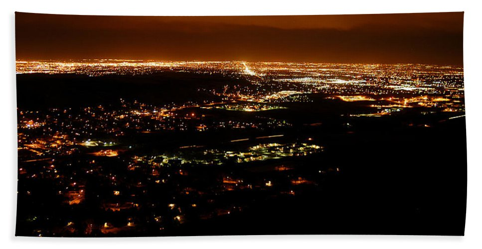 Clay Bath Sheet featuring the photograph Denver Area At Night From Lookout Mountain by Clayton Bruster