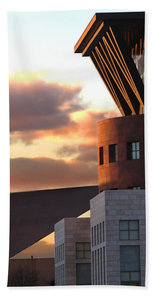 Denver Hand Towel featuring the photograph Denver Art Museum And Library by Jeffery Ball