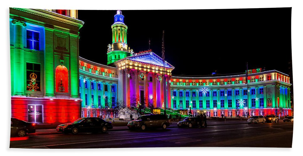Architecture Bath Sheet featuring the photograph Denver City County Building Holiday Lighting. by John Bartelt
