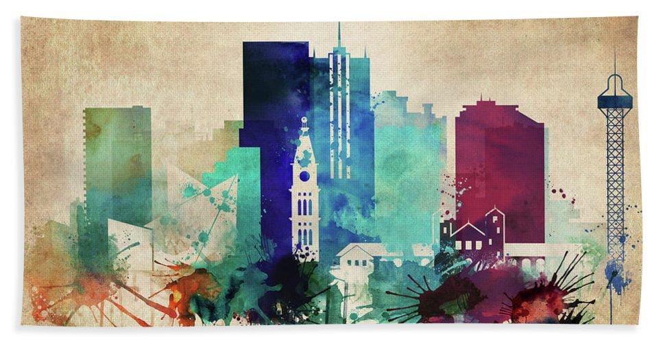 Denver Hand Towel featuring the painting Denver Colorado Vintage Skyline by Dim Dom