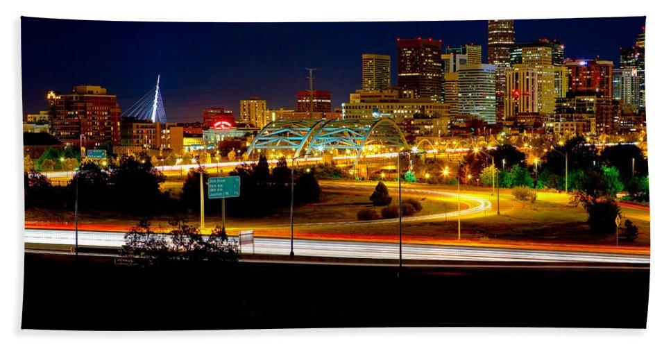 Denver Bath Sheet featuring the photograph Denver Night Skyline by James O Thompson