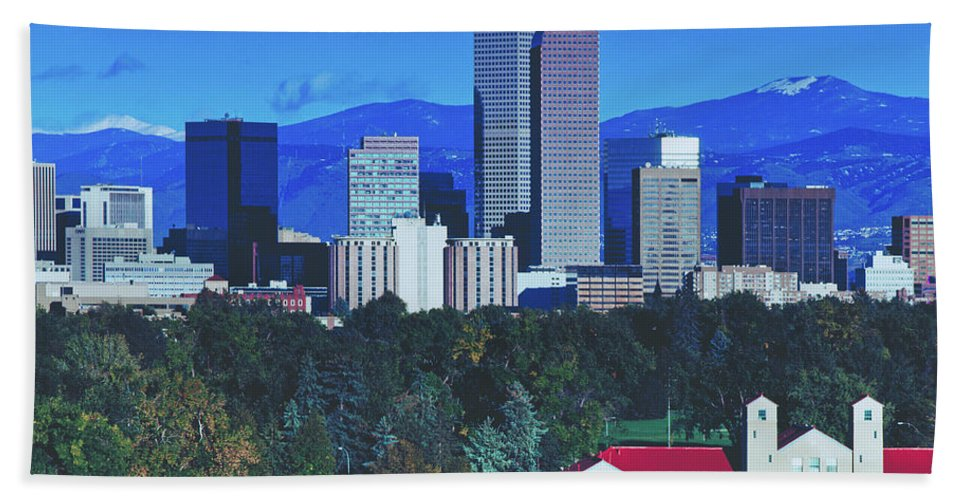 Denver Hand Towel featuring the photograph Denver Skyline by Library Of Congress