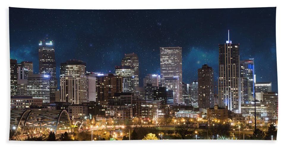 America Bath Towel featuring the photograph Denver Under A Night Sky by Juli Scalzi