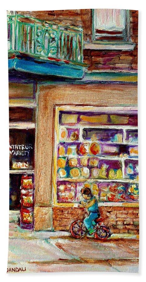 Montreal Bath Towel featuring the painting Depanneur St.viateur by Carole Spandau