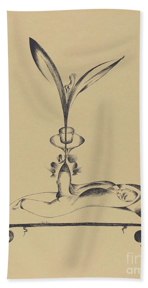 Hand Towel featuring the drawing Der M?nn Mit Dem Holzbein Tr?umt (the Man With The Wooden Leg Dreams) by Heinrich Hoerle