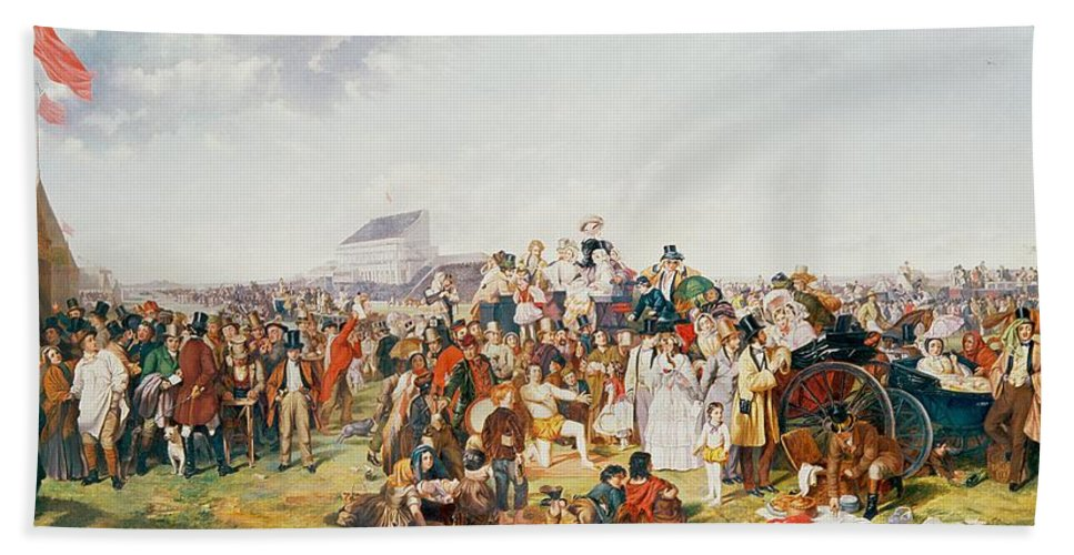 Derby Day (oil On Canvas) By William Powell Frith (1819-1909) (after) Hand Towel featuring the painting Derby Day by William Powell Frith