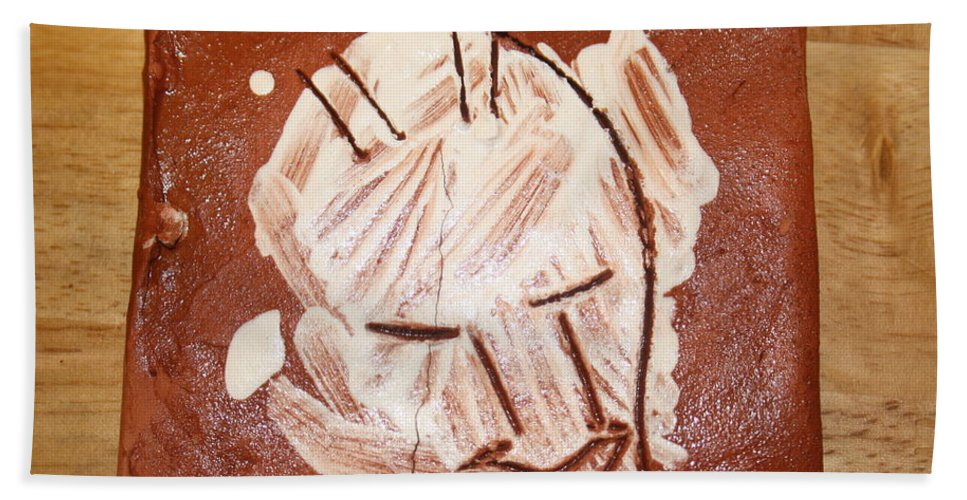 Jesus Hand Towel featuring the ceramic art Derek - Tile by Gloria Ssali
