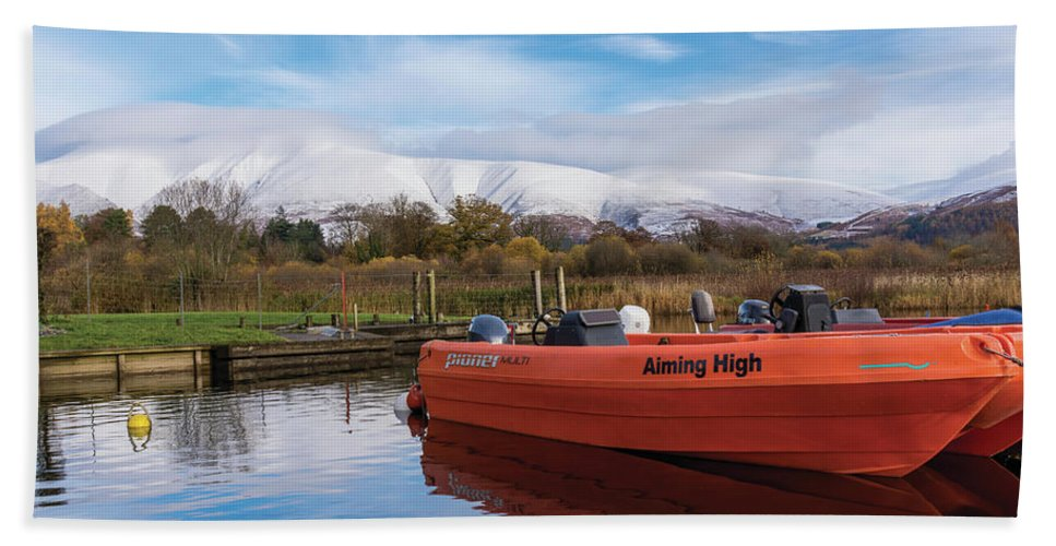 Landscape Bath Sheet featuring the photograph Derwent Water Harbor by Christopher Carthern