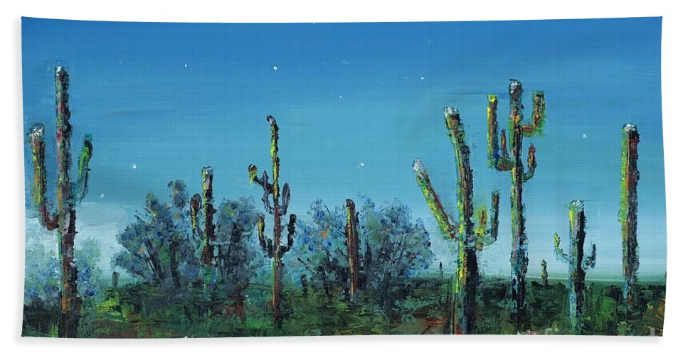 Desert Saguaro Catus In Bloom Bath Towel featuring the painting Desert Blue by Frances Marino