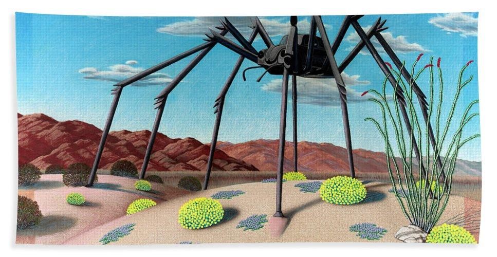 Desert Bath Sheet featuring the painting Desert Bug by Snake Jagger