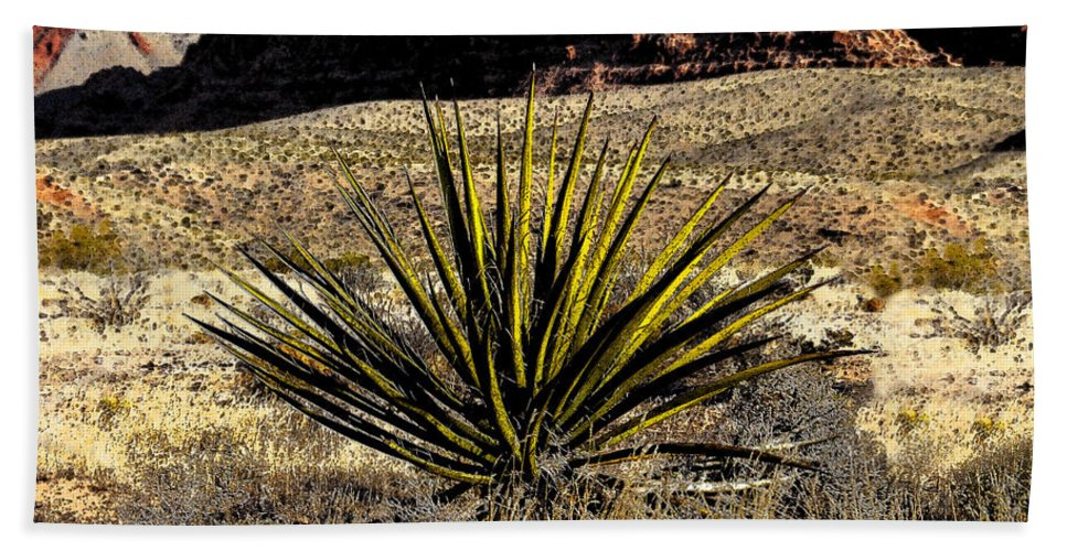 Desert Hand Towel featuring the painting Desert Cactus by David Lee Thompson