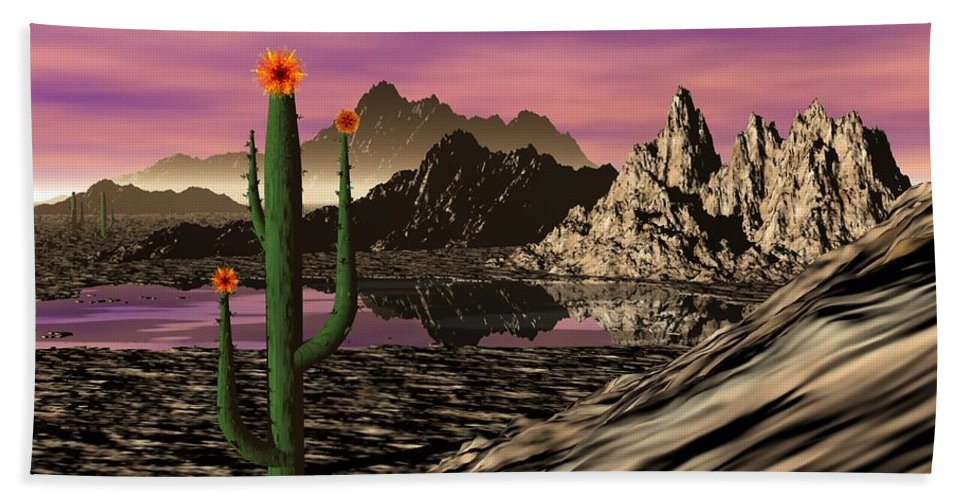 Digital Painting Hand Towel featuring the digital art Desert Cartoon by David Lane