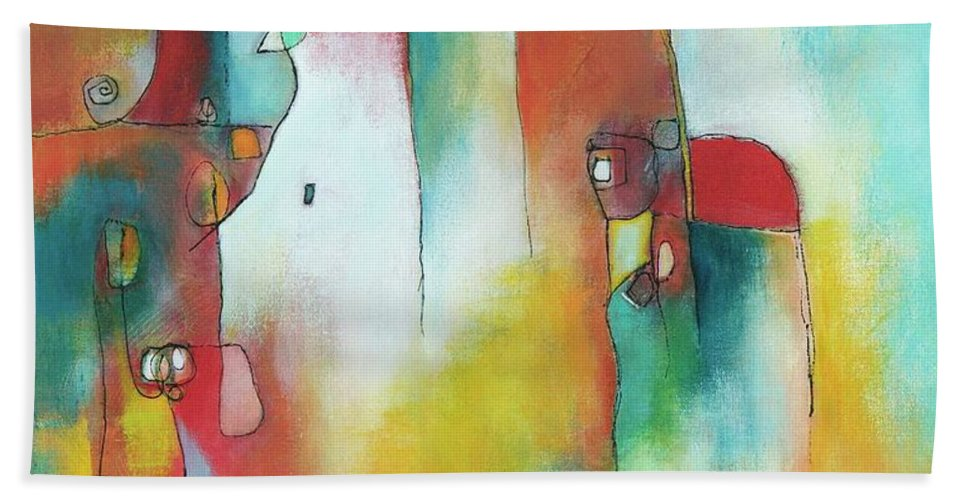 Abstract Bath Sheet featuring the painting Desert Dream by Laurie DeVault