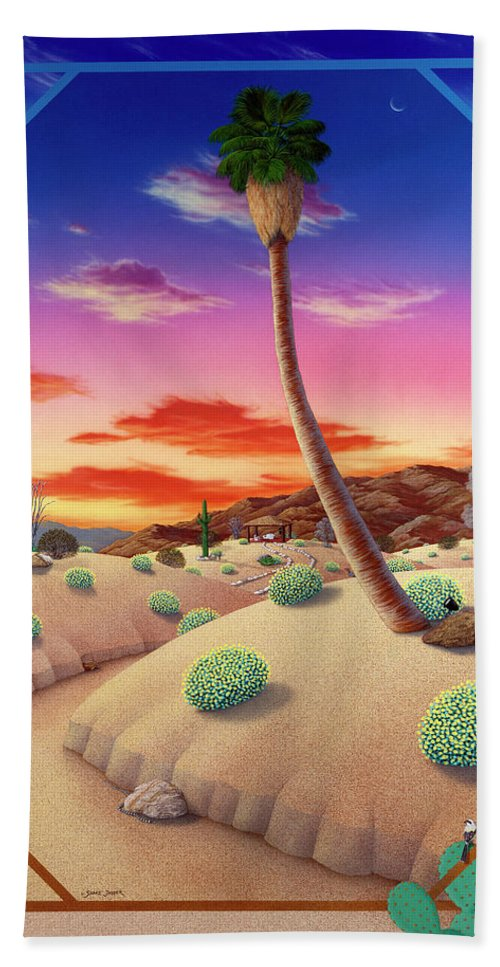 Landscape Hand Towel featuring the painting Desert Gazebo by Snake Jagger